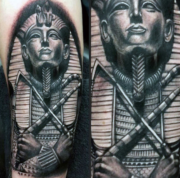 576x570 Black And Grey Shaded Male Tattoo Of King Tutankhamun Orionne