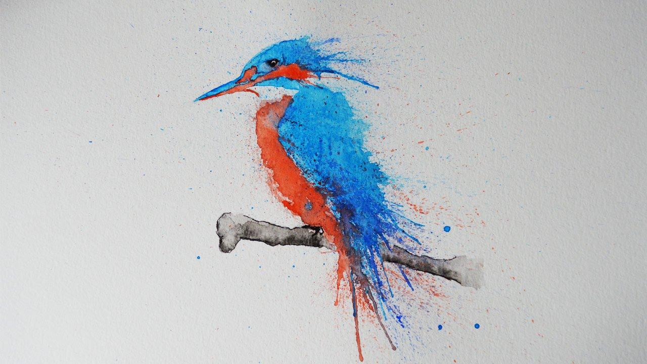 1280x720 Bird Kingfisher Splatter Art Speed Drawing