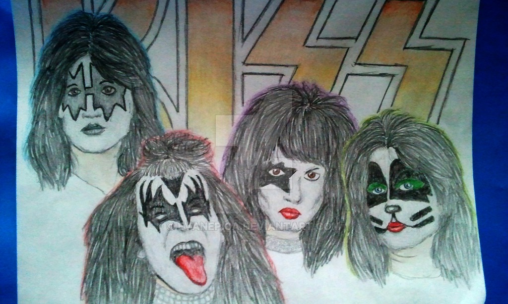 1024x614 Kiss Band Drawing By Evanepica