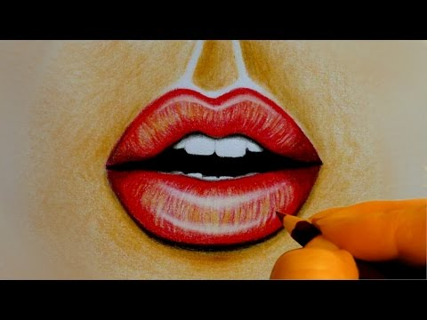 480x360 Kissing Lips Speed Drawing Speed Painting How To Draw