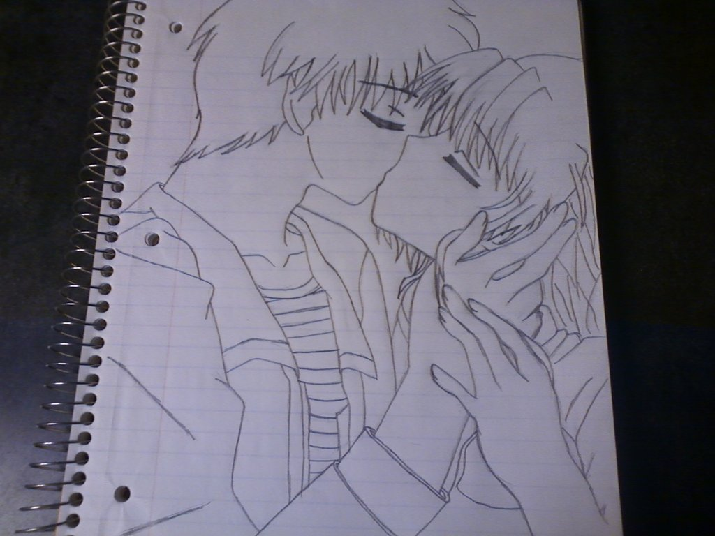 1024x768 Anime Couple Kissing Outline By Stardust987