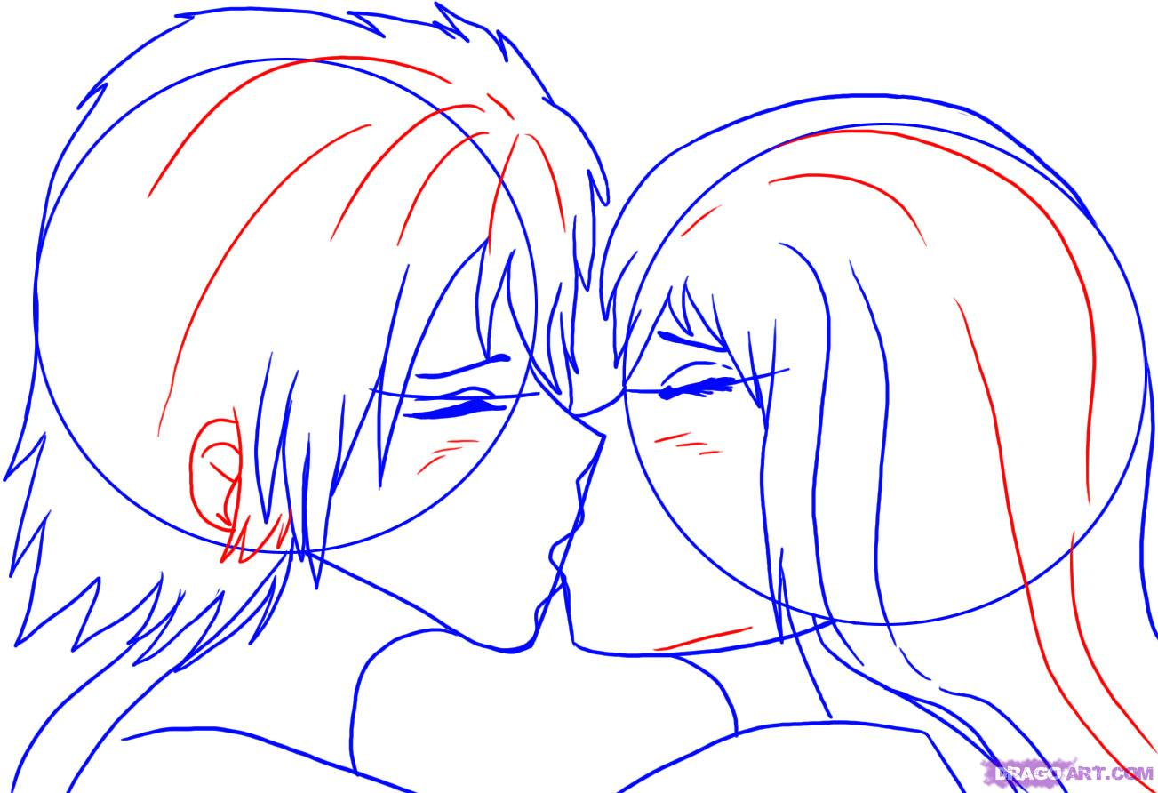 1303x892 How To Draw People Kissing, Step By Step, Anime People, Anime