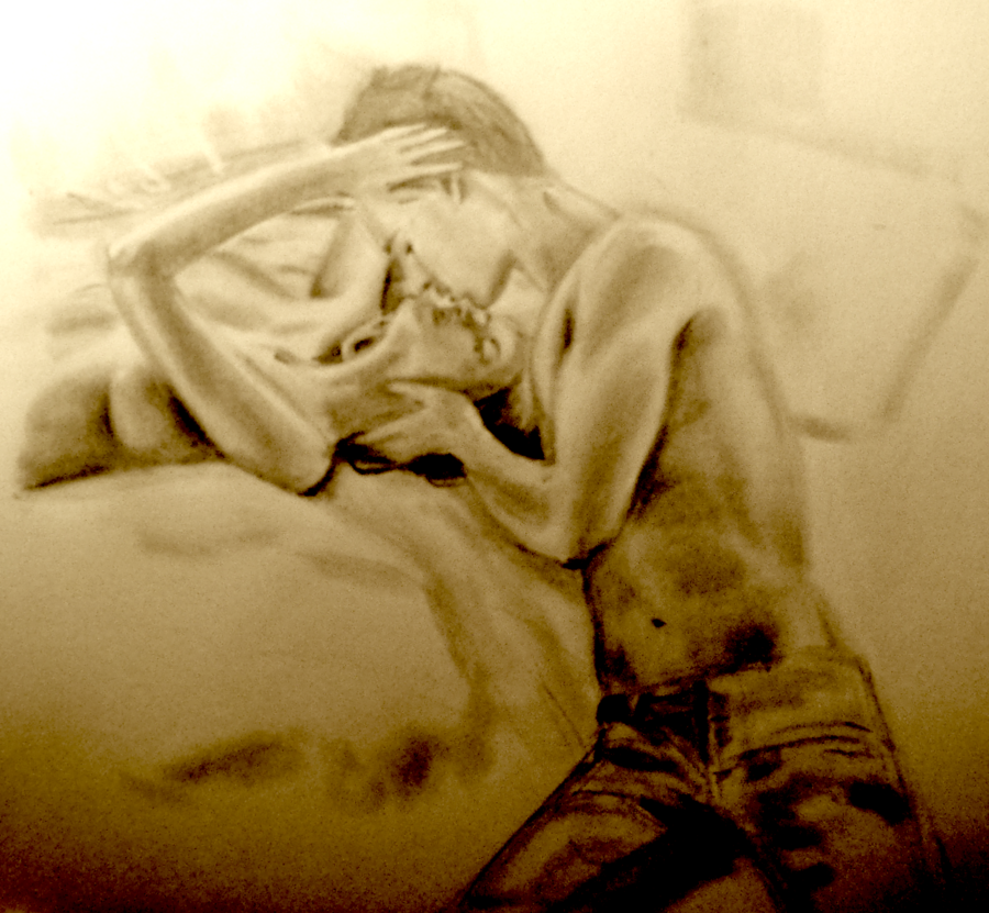 900x831 Topless Couple Kissing In Bed