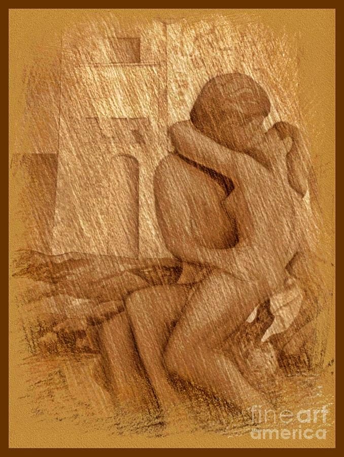 678x900 Lovers Kissing Drawing By John Malone