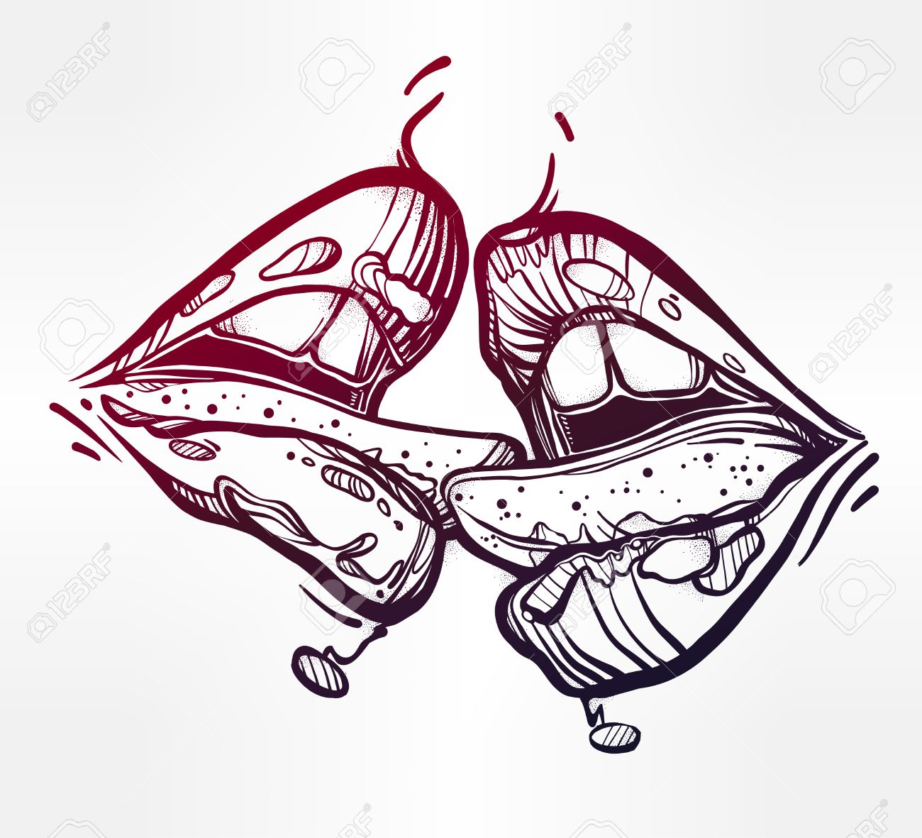 1300x1181 Sexy Beautiful Couple Kissing. Linear Erotic Sensual Lips. Pop