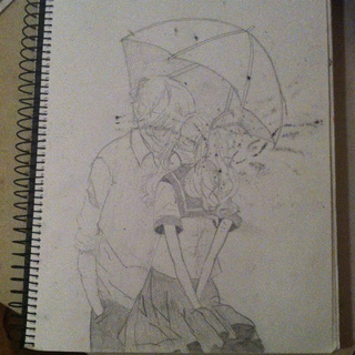 320x320 Kawaii Drawing Of A Couple Kissing. Smudged From Ink
