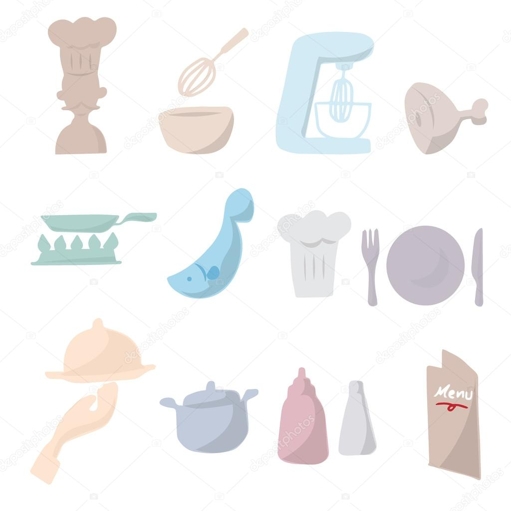 1024x1024 Chef And Kitchen Cartoon Drawing Icons Stock Vector Tawesit