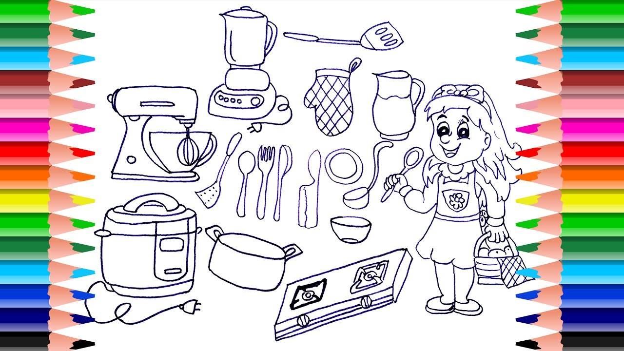 1280x720 How To Draw Kitchen Set For Girls Drawing Cooking Toys