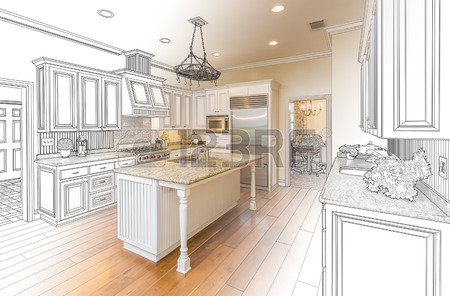450x296 Beautiful Custom Kitchen Design Drawing And Brushed In Photo