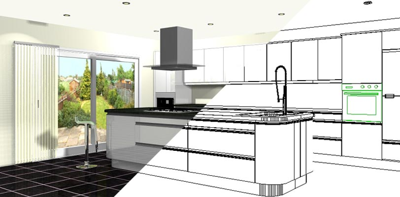 812x401 Computer Kitchen Design