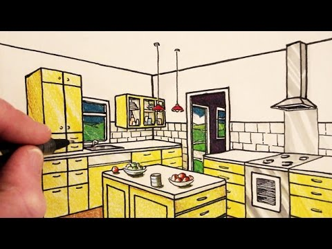 480x360 How To Draw A Kitchen Room In 2 Point Perspective Narrated