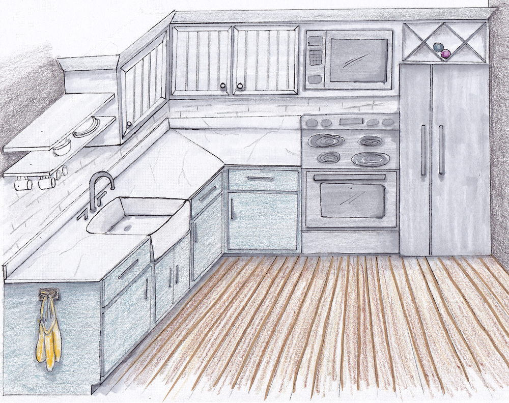 simple kitchen drawing. 1000x792 Kitchen Draw Simple Drawing