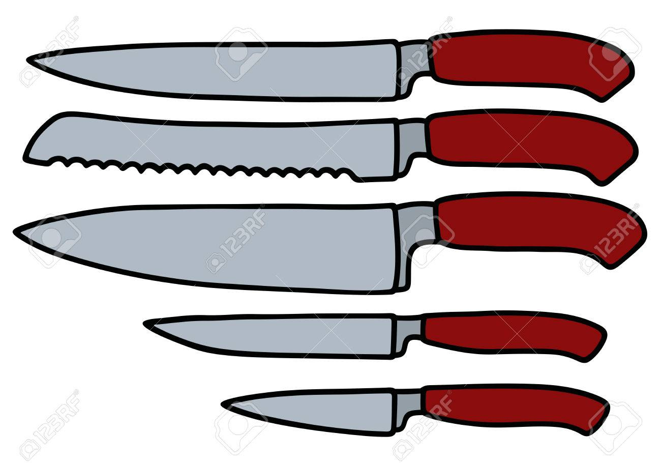 1300x910 Hand Drawing Of Five Kitchen Knives Royalty Free Cliparts, Vectors
