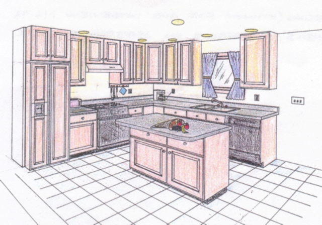 640x448 An Interior Sketch Of A Kitchen In One Point Perspective Two Point