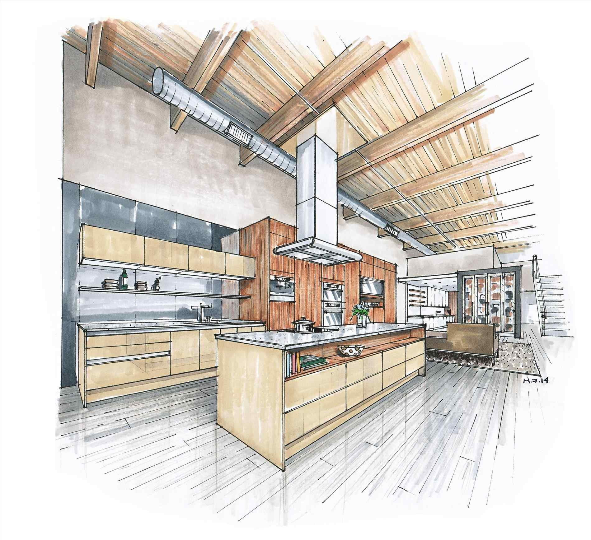 1899x1736 Design Sketches Kitchen To Draw With Two Point Perspective Making