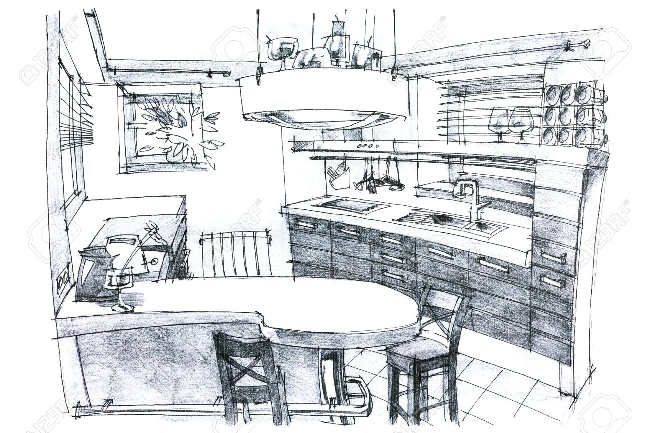 1300x866 Interior Hand Drawing Perspective Of A Stylish Modern Kitchen