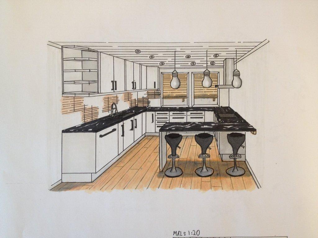 1024x768 Interior Kitchen 1 Point Perspective By Thebif94