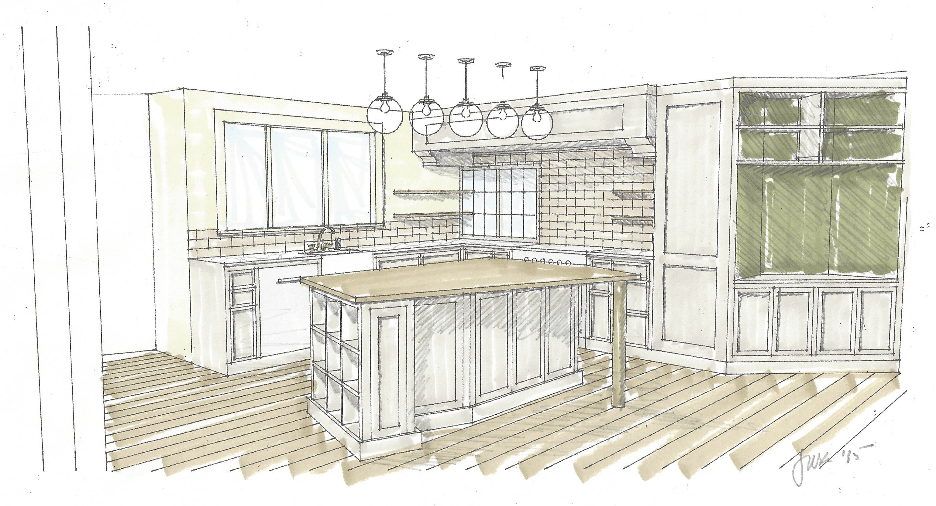 3080x1667 Perspective Drawing Of Custom Kitchen Island With View To Pass