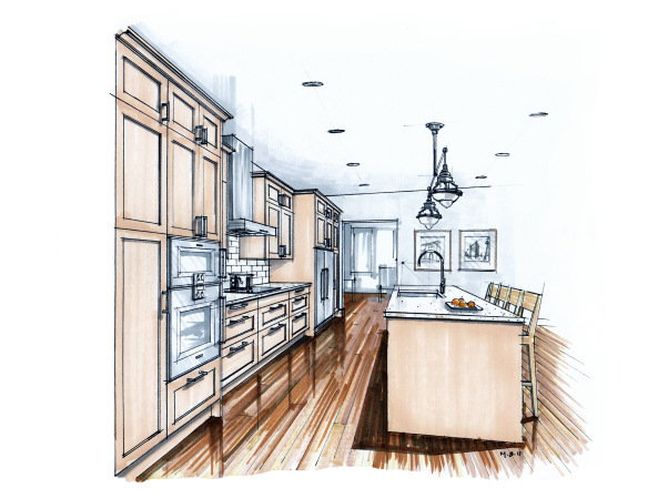 584x449 Traditional Hand Drawn Color Marker Kitchen Perspective Drawing