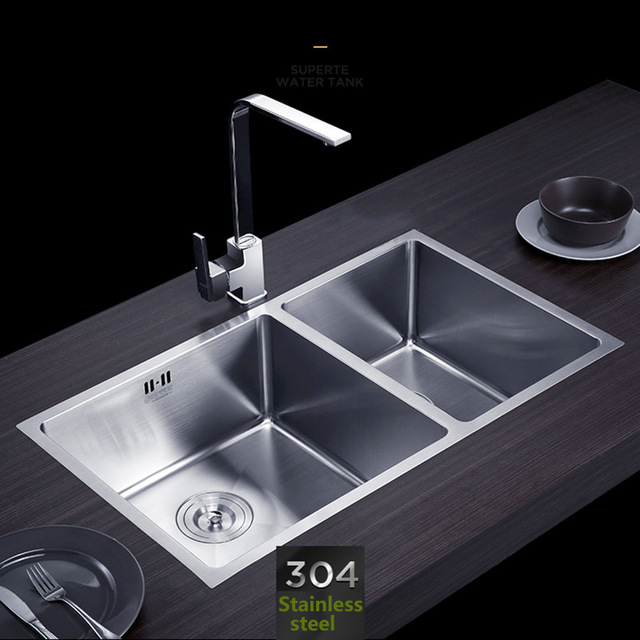 640x640 Handmade Kitchen Sink Stainless Steel Brushed Double Bowl Wire