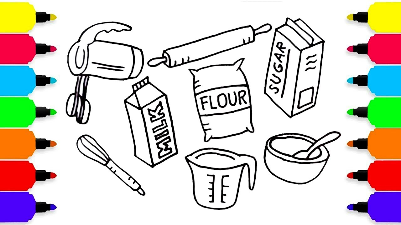 1280x720 Baking Set Drawing For Kids How To Draw Kitchen Tools Art