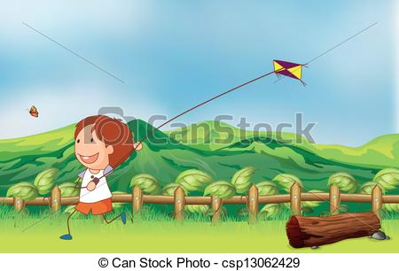 450x306 Illustration Of A Boy Flying His Kite