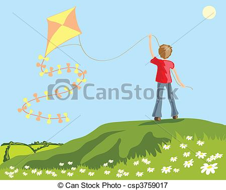 450x380 Vector Illustration Of A Young Boy Flying A Kite From A Vectors