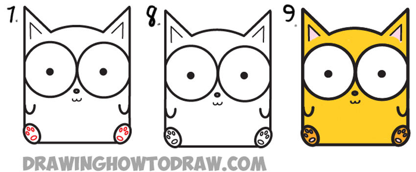 850x352 How To Draw Cartoon Baby Kitty Cat Or Kitten From Letters Easy