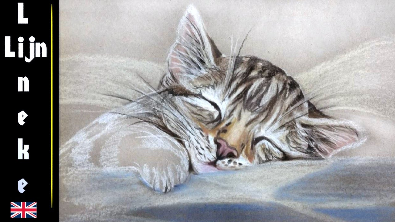 1280x720 Drawing A Sleeping Kitten With Pastel Pencil For Beginners