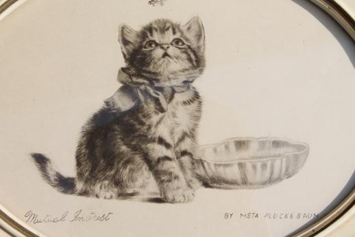 518x345 Kitten Vintage Pencil Drawing, Artist Signed Print In Small Oval