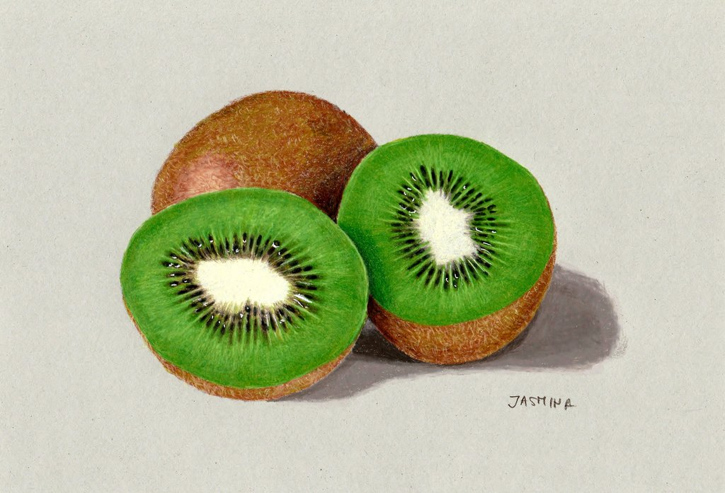1024x697 Colored Pencil Drawing Of Kiwi Fruit By Jasminasusak