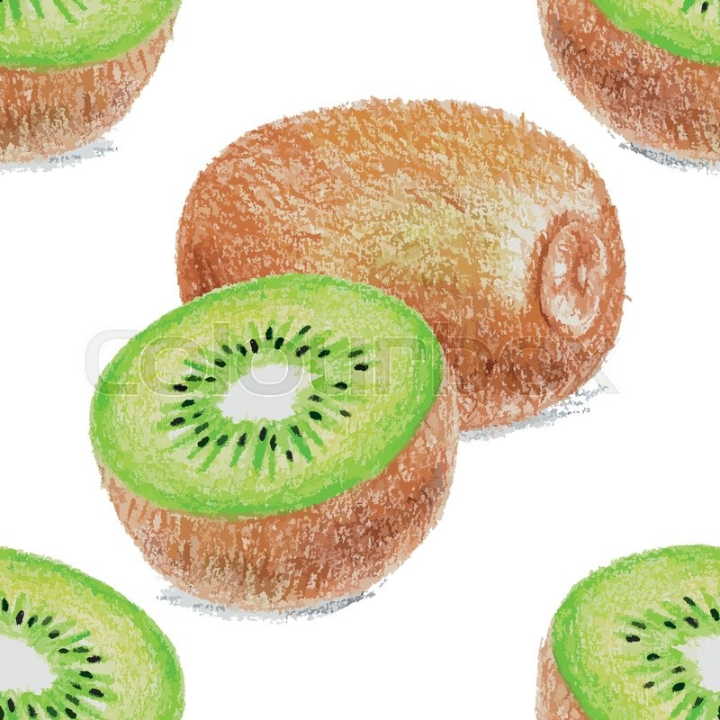 800x800 Seamless Pattern With Kiwi Drawing By Color Pencils. Vector