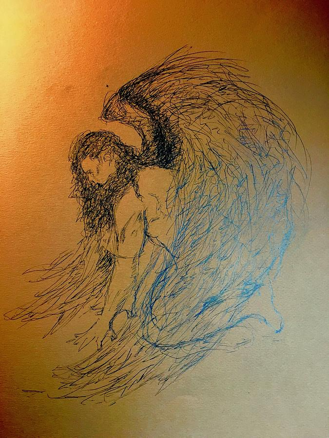 675x900 Kneeling Angel Drawing By James Henderson