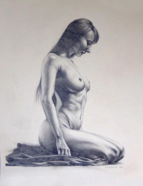 570x744 Nude Woman Kneeling Drawn Figure Study