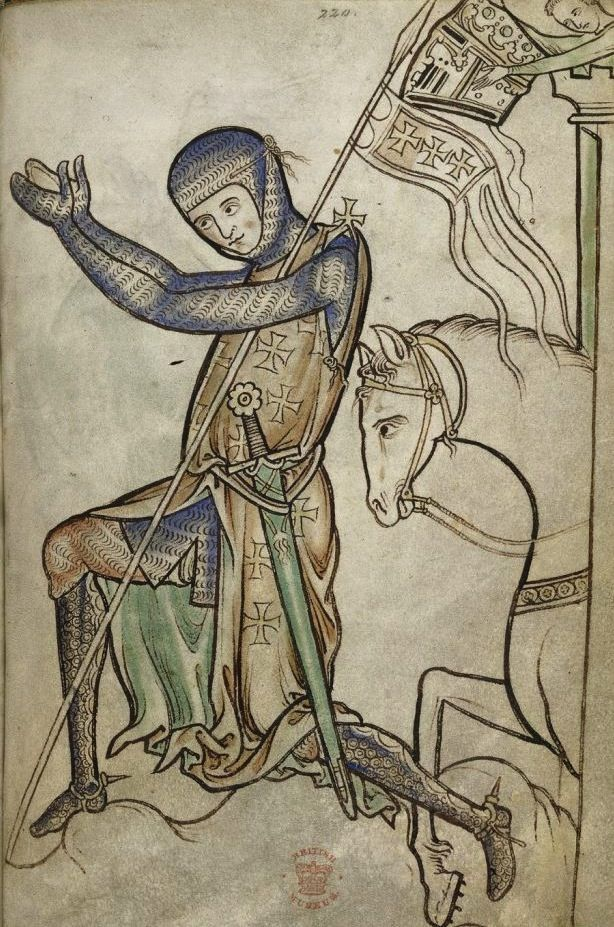 614x927 Fig 2 Kneeling Knight, Westminster Psalter, C. 1250, London