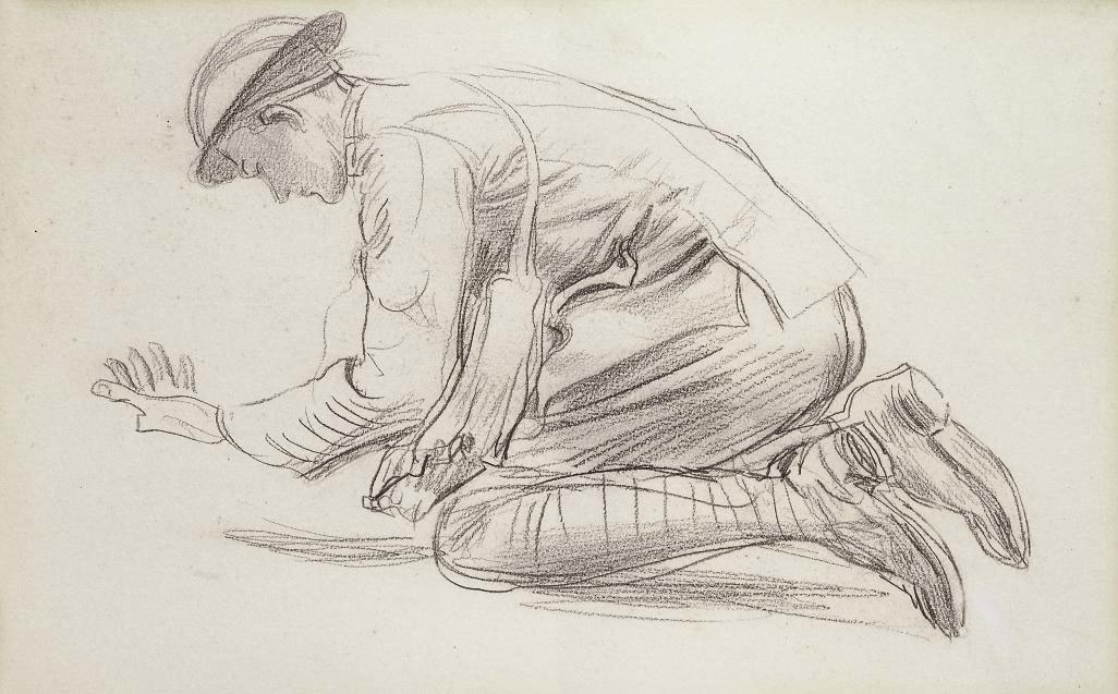 1026x637 Augustus John, O.m., R.a. (1878 1961) A Soldier Kneeling 20th