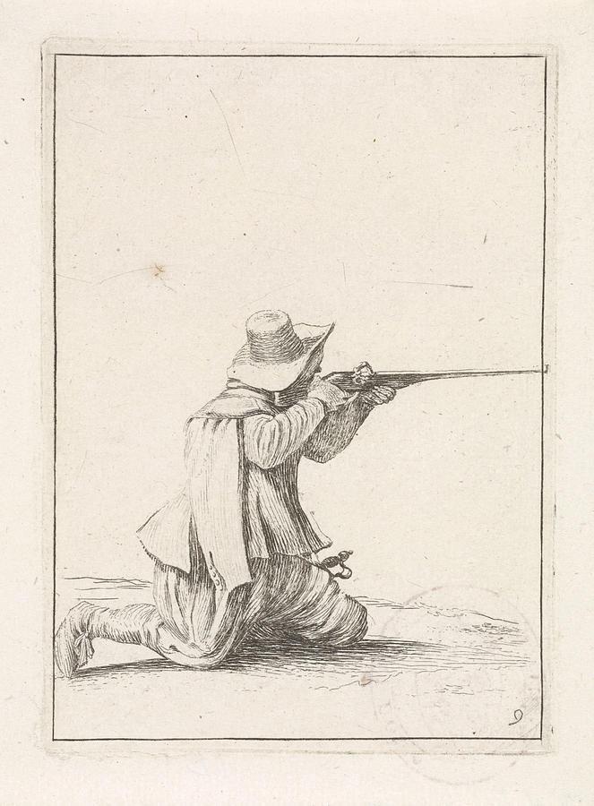 663x900 Kneeling Soldier, His Rifle Berthing, Dirk Maas Drawing By Quint Lox