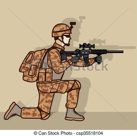 450x448 Kneeling Soldier Vector Clipart