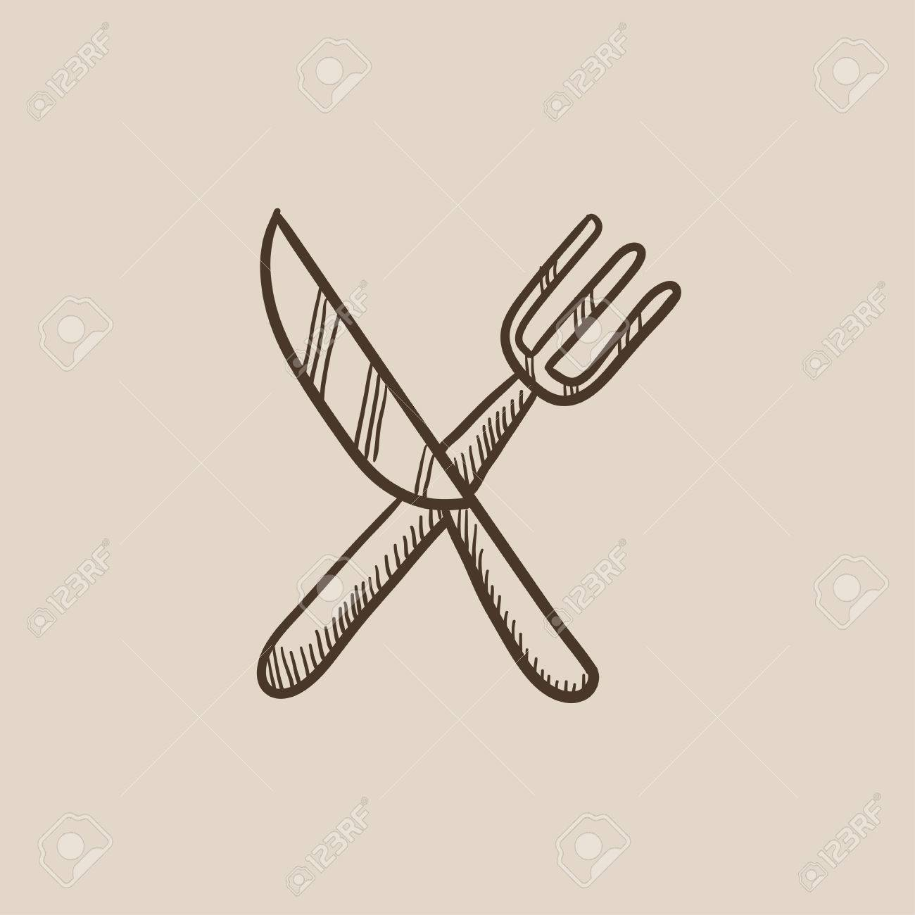 1300x1300 Crossed Knife Fork Sketch Icon For Web, Mobile