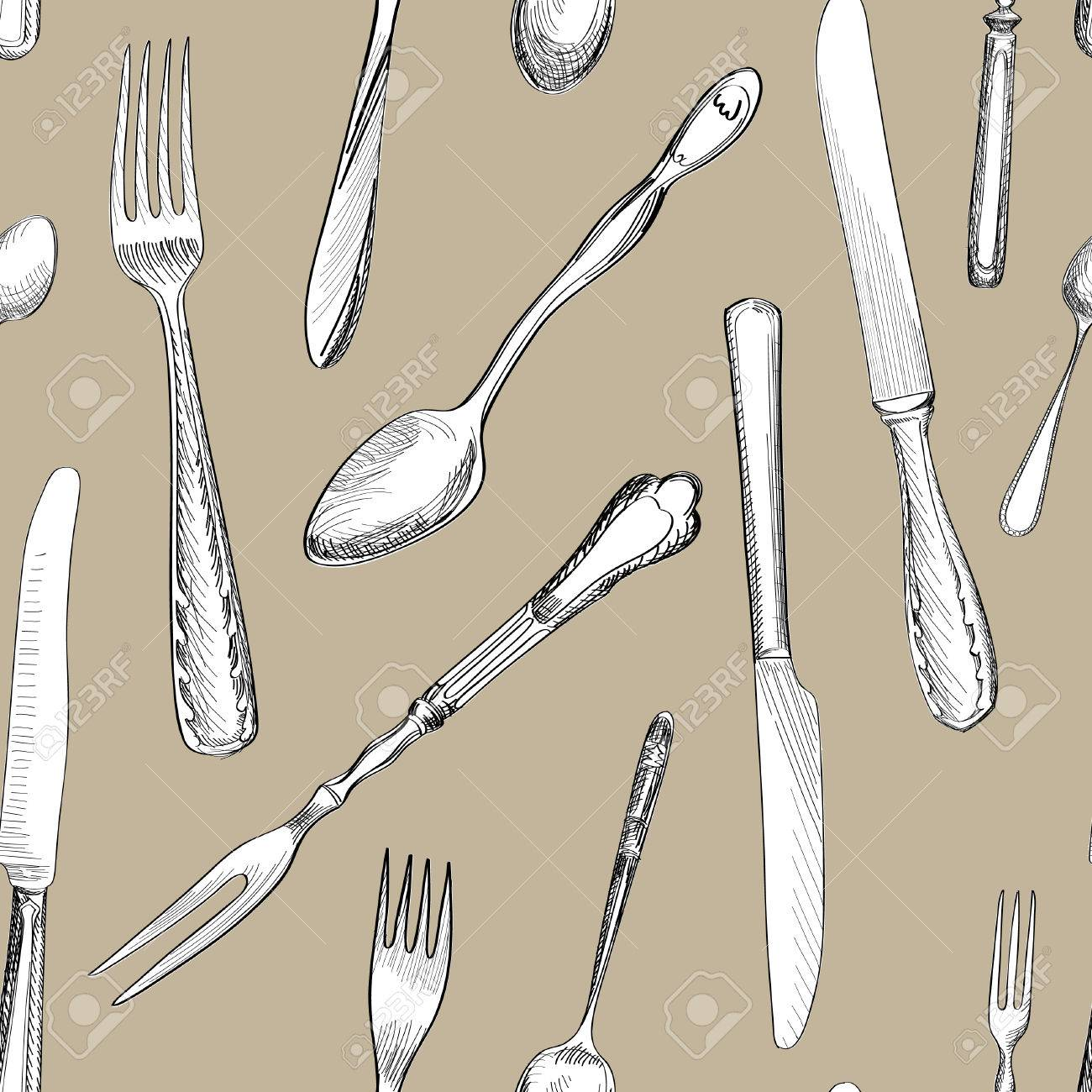 1300x1300 Fork, Knife, Spoon Hand Drawing Sketch Seamless Texture. Cutlery