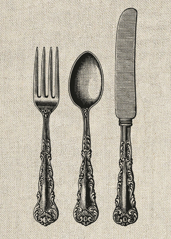 570x798 Fork Spoon And Knife Vintage Clipart Printable By Instantgraphics