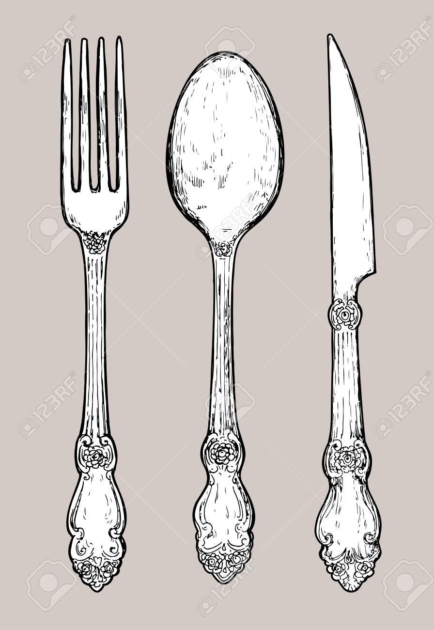 896x1300 Hand Drawn Vintage Silver Cutlery. Fork, Knife And Spoon. Royalty