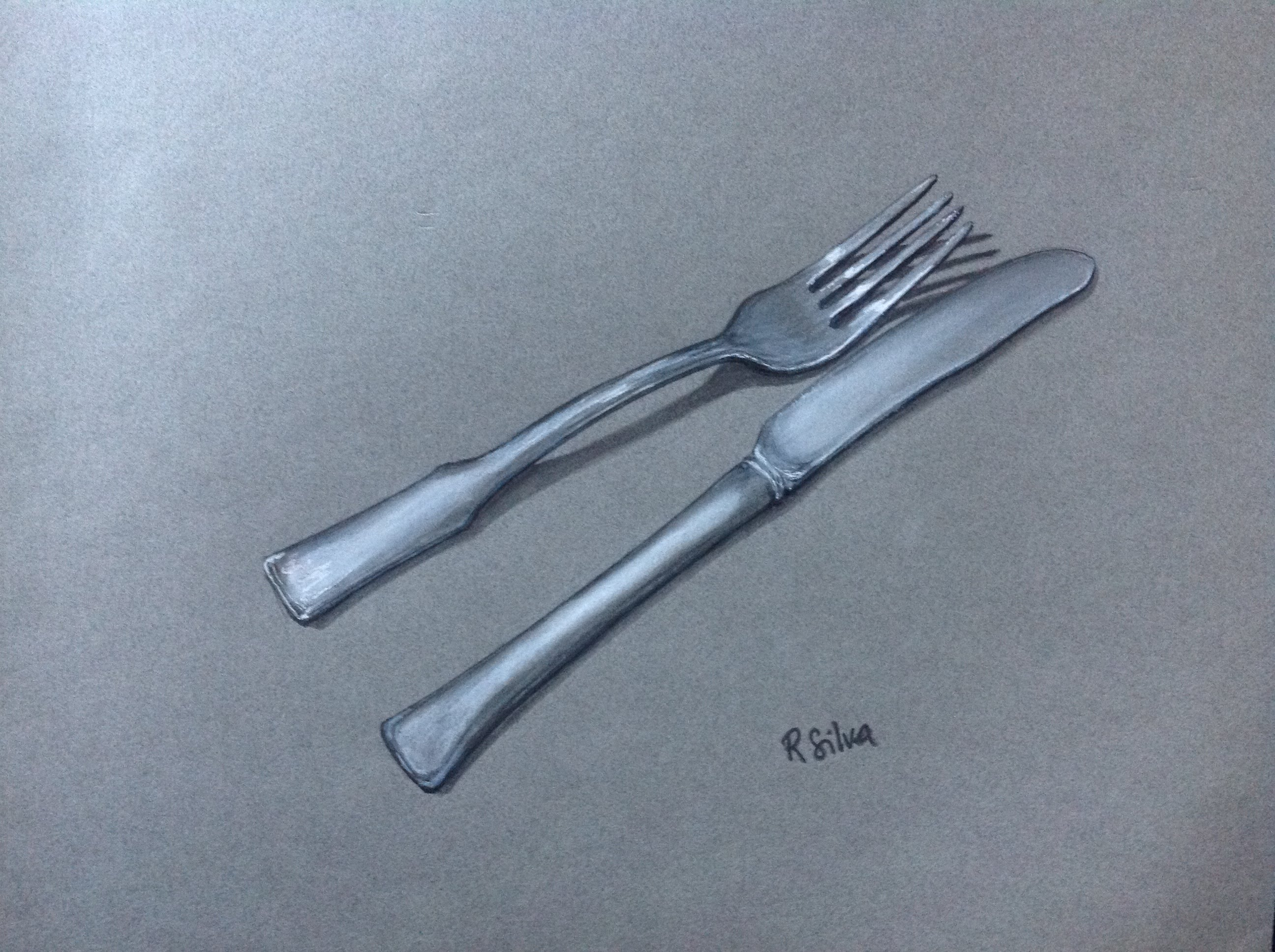 2592x1936 How To Draw Time Lapse Realistic Fork And Knife