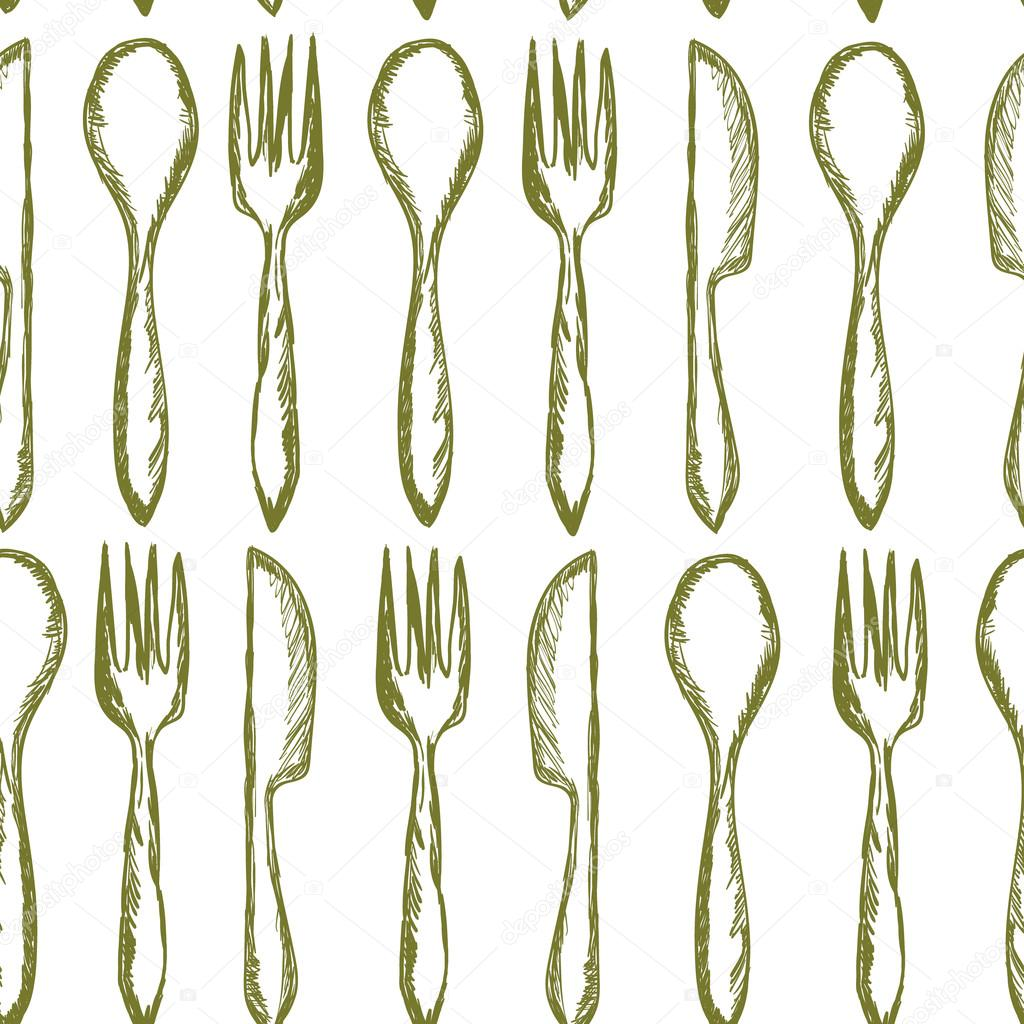 1024x1024 Seamless Texture With Fork, Knife, Spoon In Sketch Style. Hand