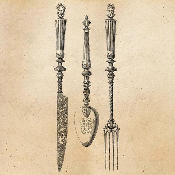 570x570 Vintage Knife Fork Spoon Illustration Printable 1800s Antique