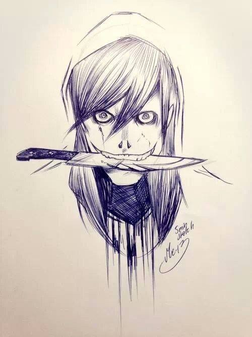500x667 Draw Cut Emo Style Girl Blood Knife Creepy Pasta