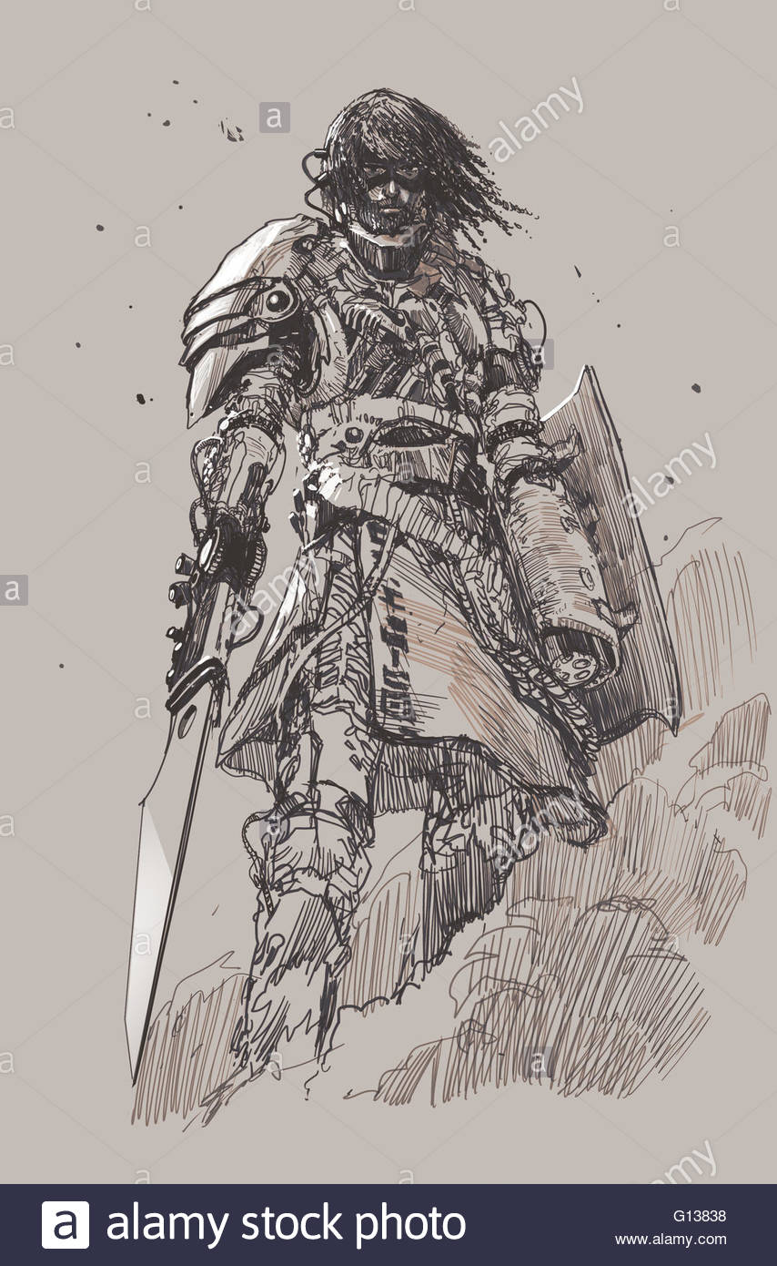 854x1390 Futuristic Knight With Blade,drawing,sketch Stock Photo 103949084