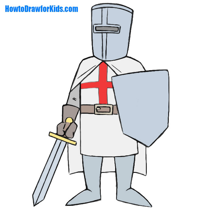 696x692 How To Draw A Crusader For Kids Howtodrawforkids