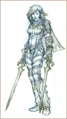 236x417 Female Knight Armor Drawing
