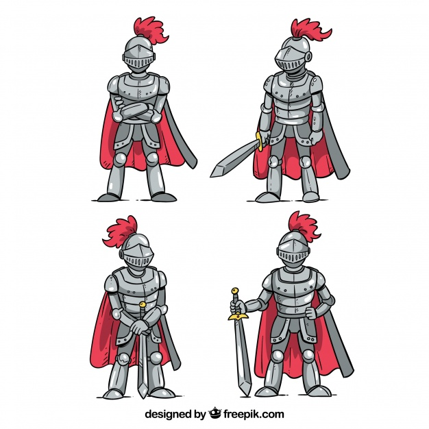 626x626 Set Of Four Hand Drawn Knight Armor With Cape Vector Free Download